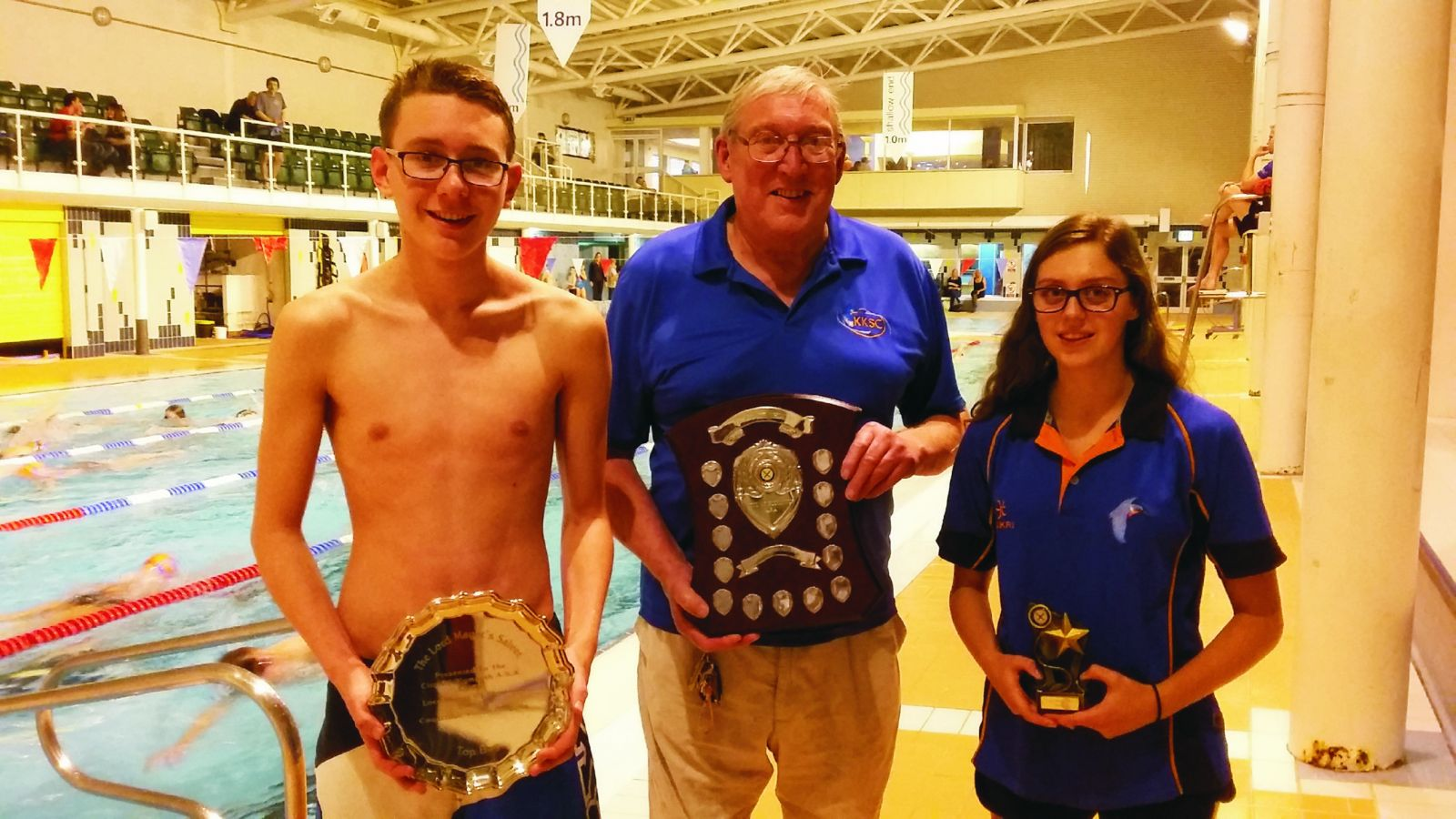Ben Cusack, Mel Jeynes and Emma Noyce with their awards.
